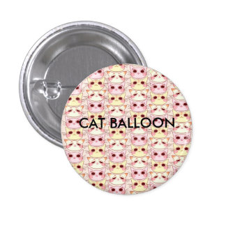 Cat and balloon can batch pinback button