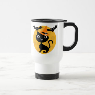 Cat and Bats Halloween T-shirts and Gifts 15 Oz Stainless Steel Travel Mug