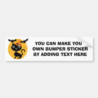 Cat and Bats Halloween T-shirts and Gifts Bumper Sticker