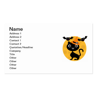 Cat and Bats Halloween T-shirts and Gifts Double-Sided Standard Business Cards (Pack Of 100)