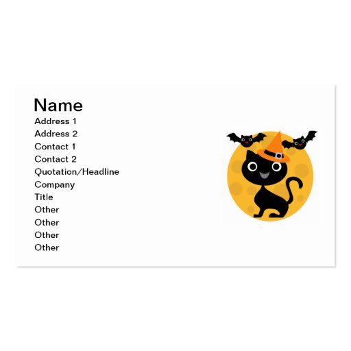 Cat and Bats Halloween T-shirts and Gifts Business Card