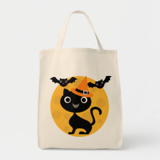 Cat and Bats Halloween T-shirts and Gifts Grocery Tote Bag