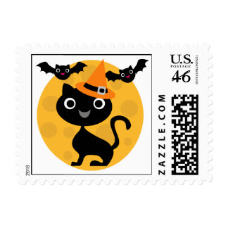 Cat and Bats Halloween T-shirts and Gifts Stamps