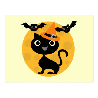 Cat and Bats Halloween T-shirts and Gifts Postcard