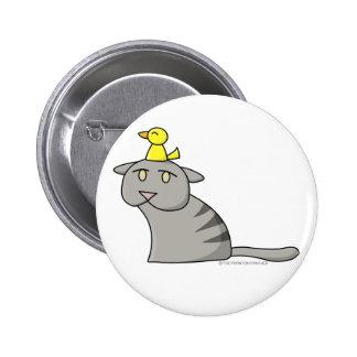 Cat and Bird Design Button 01