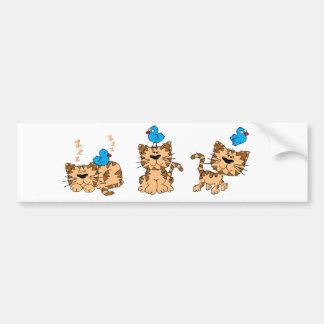 Cat and Bird - friends Bumper Sticker