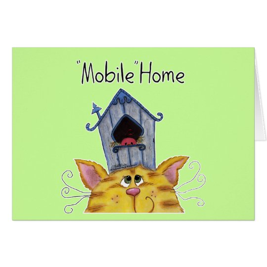 Cat and Bird House Mobile Home Card
