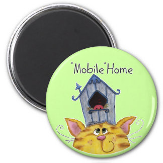 Cat and Bird House Mobile Home Magnet