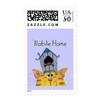 Cat and Bird House Mobile Home Postage