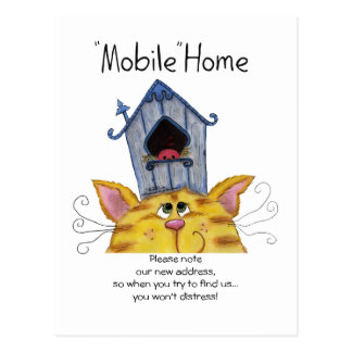 Cat and Bird House Mobile Home Postcard