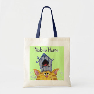 Cat and Bird House Mobile Home Tote Bag
