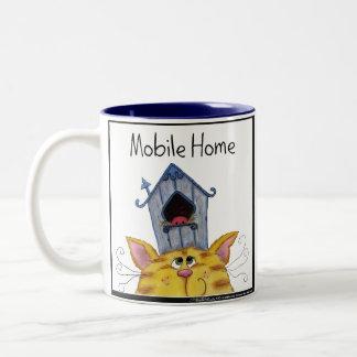 Cat and Bird House Mobile Home Two-Tone Coffee Mug