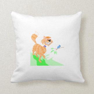 Cat And Bird Pillow