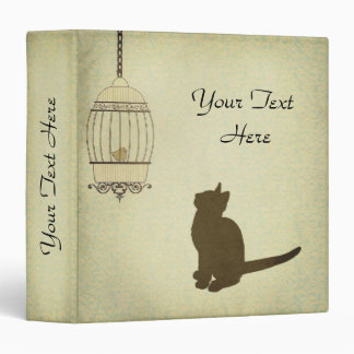 Cat and Birdcage - 1.5 inch 3 Ring Binder