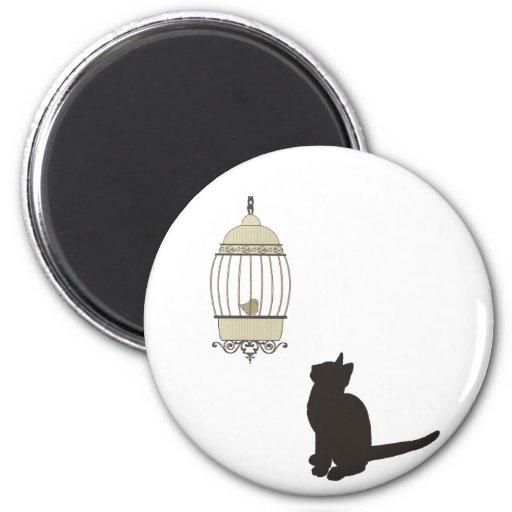 Cat and Birdcage Fridge Magnets