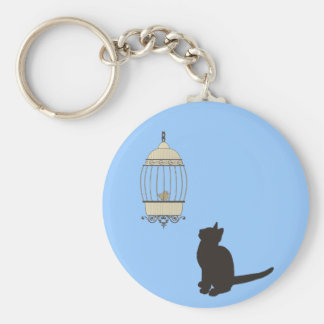 Cat and Birdcage Keychain