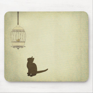 Cat and Birdcage Mouse Pad
