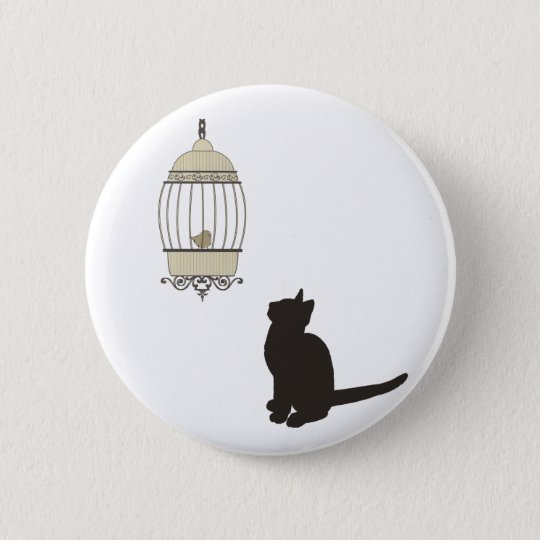 Cat and Birdcage Pinback Button