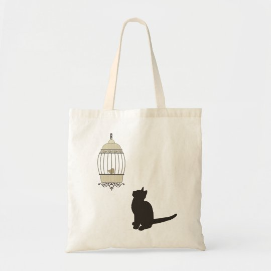 Cat and Birdcage Tote Bag