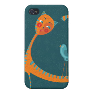 Cat And Birds iPhone 4/4S Covers