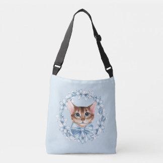 Cat and blue flowers crossbody bag