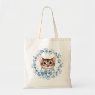 Cat and blue flowers tote bag