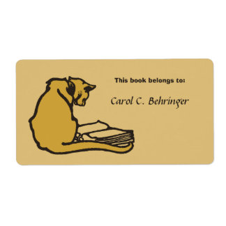 Cat and book, vintage bookplate customizable custom shipping label