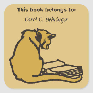 Cat and book vintage bookplate customizable square sticker