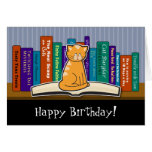 Cat and Books Birthday Card