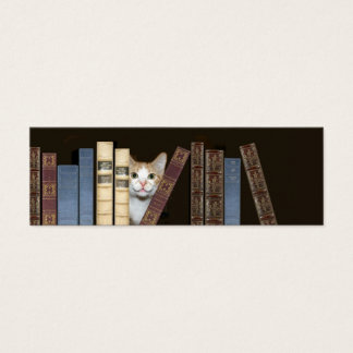 Cat and books bookmark mini business card