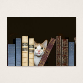 Cat and books business card