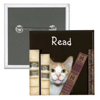 Cat and books buttons