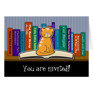 Cat and Books Invitation