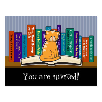 Cat and Books Invitation Postcard