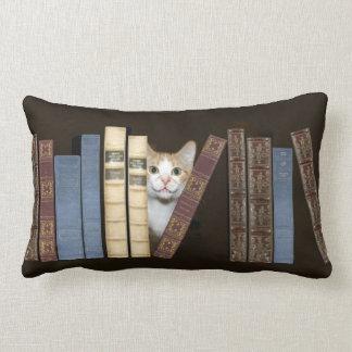 Cat and books lumbar pillow