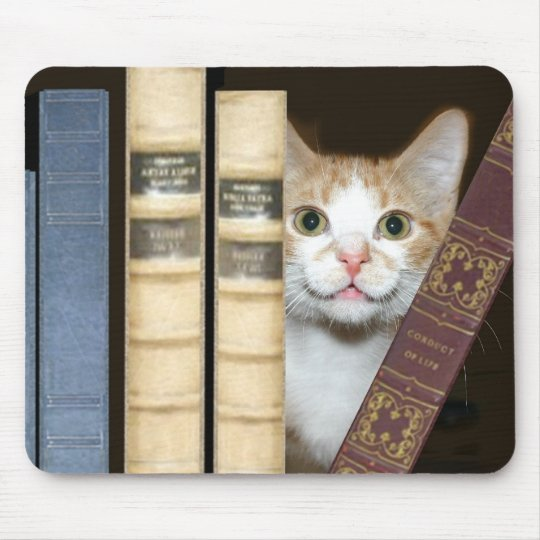 Cat and books mouse pad