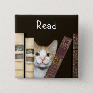 Cat and books pinback button
