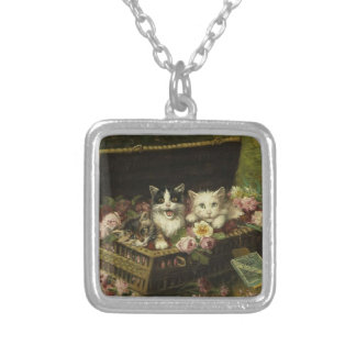 Cat and bouquet 2 silver plated necklace