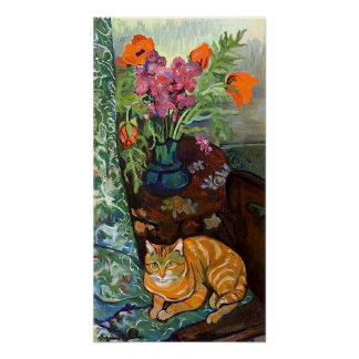 Cat and Bouquet, Suzanne Valadon Poster