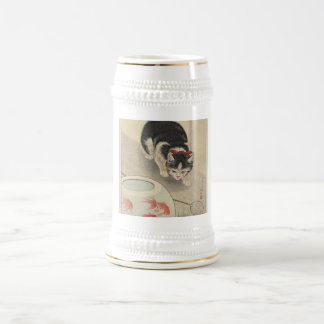 Cat and Bowl of Goldfish by Ohara Koson 18 Oz Beer Stein