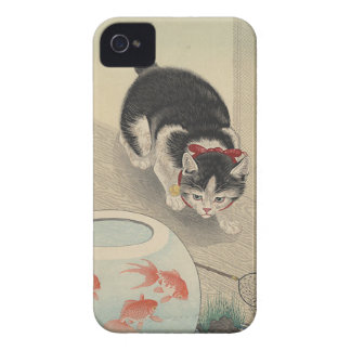 Cat and Bowl of Goldfish by Ohara Koson iPhone 4 Cases