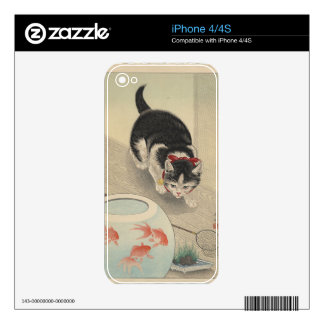 Cat and Bowl of Goldfish by Ohara Koson Decal For iPhone 4