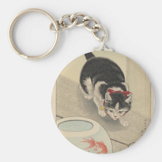 Cat and Bowl of Goldfish by Ohara Koson Keychain