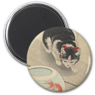 Cat and Bowl of Goldfish by Ohara Koson Magnet