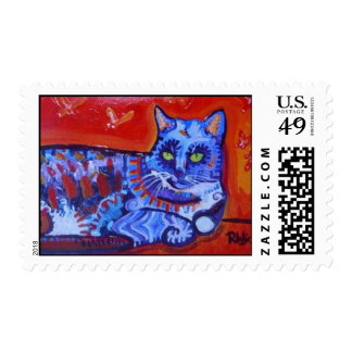Cat and Butterflies Postage Stamps