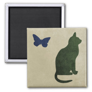 Cat And Butterfly 2 Inch Square Magnet