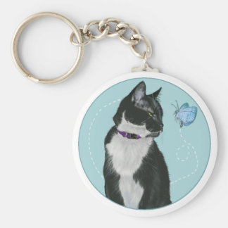Cat and Butterfly Basic Round Button Keychain
