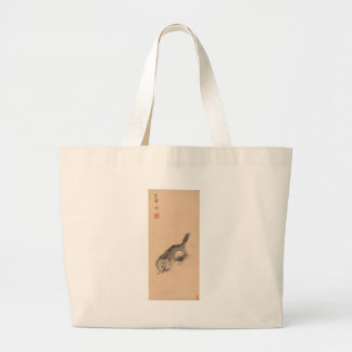 Cat and Butterfly by Bada Shanren Large Tote Bag