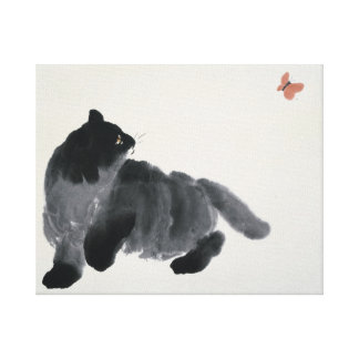 Cat and Butterfly Canvas Print