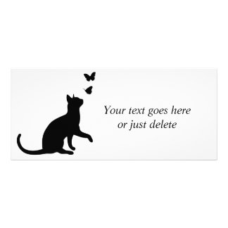 Cat and butterfly cute custom name rack card